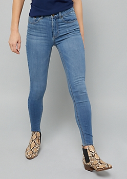 Medium Wash High Waisted Jeggings in Short