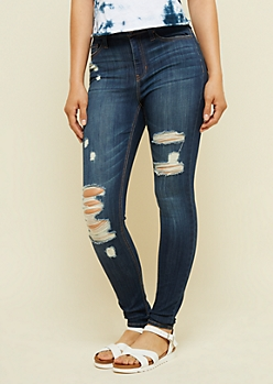 Dark Wash Distressed High Waisted Jeggings in Short