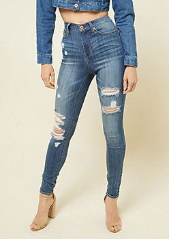 Medium Wash Ripped High Waisted Jeggings in Short