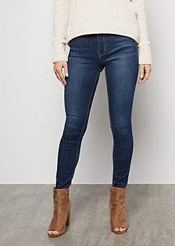 Dark Wash Low Rise Jeggings in Tall