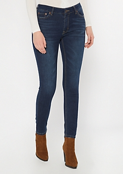 Ultra Stretch Dark Wash Mid Rise Jeggings in Regular