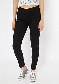 Ultra Stretch Black High Waisted Jeggings in Short