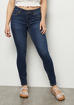 Ultra Stretch Dark Wash High Waisted Jeggings in Short