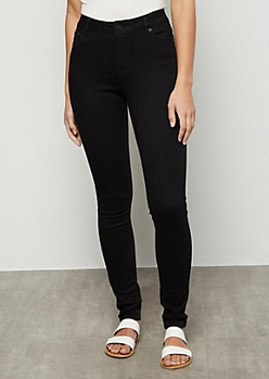 Black High Waisted Jeggings in Long