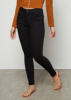 Black High Waisted Jeggings in Short