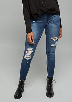 Medium Wash High Waisted Distressed Jeggings in Short