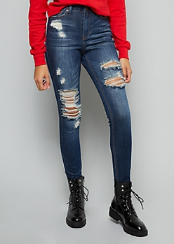 Dark Wash High Waisted Heavy Distressed Jeggings In Regular