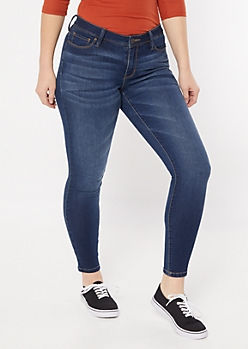 Ultra Stretch Dark Wash Mid Rise Jeggings in Long
