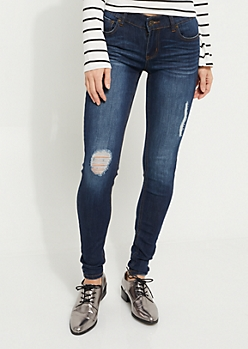 Dark Wash Mid Rise Ripped Jeggings in Long