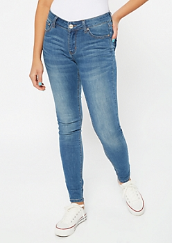 Ultra Stretch Medium Wash Mid Rise Jeggings in Long