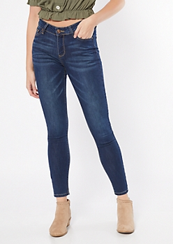 Ultra Stretch Dark Wash Mid Rise Ripped Jeggings in Long