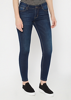 Ultra Stretch Dark Wash Mid Rise Ripped Jeggings in Regular