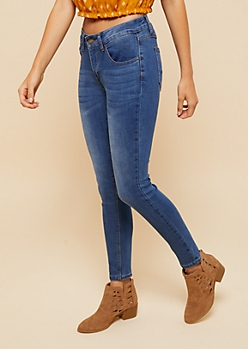 Medium Wash Mid Rise Jeggings in Long