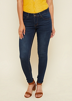 Dark Wash Mid Rise Jeggings in Short