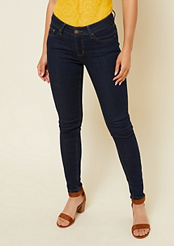 Dark Rinse Mid Rise Jeggings in Short