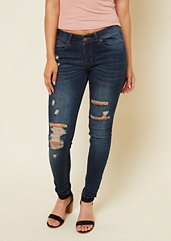 Dark Wash Distressed Mid Rise Jeggings in Short