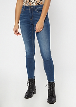 Ultimate Stretch Dark Wash Mid Rise Jeggings in Long