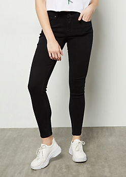 Black Mid Rise Skinny Jeans in Long