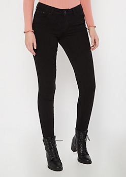 Black Mid Rise Jeggings in Regular