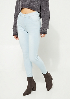 Light Wash Extra High Waisted Cropped Jeggings
