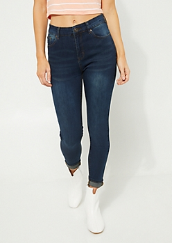 Dark Wash Extra High Waisted Cropped Jeggings