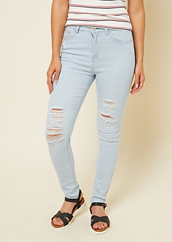 Light Wash Distressed Extra High Waisted Jeggings in Short