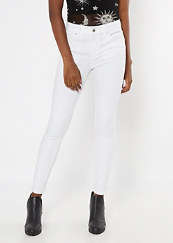 White High Waisted Booty Jeggings