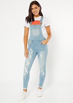 Light Wash Distressed Rolled Booty Jean Overalls