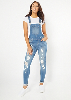 Medium Wash Distressed Rolled Booty Jean Overalls