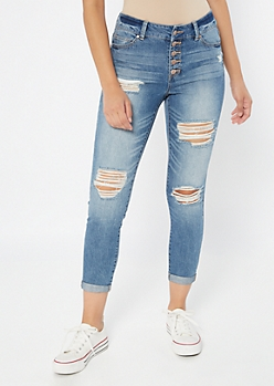 Medium Wash High Waisted Button Front Mom Jeans