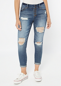 Dark Wash High Waisted Button Front Mom Jeans