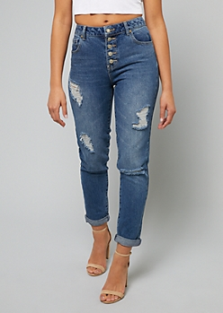 Medium Wash High Waisted Button Fly Mom Jeans