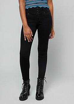 Black Mid Rise Triple Button Skinny Booty Jeans