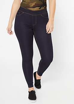Dark Wash Mid Rise Pull On Booty Jeggings