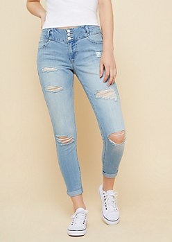 Light Wash Distressed Mid Rise Rolled Ankle Jeans