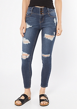 Dark Wash Triple Button Distressed Skinny Ankle Jeans