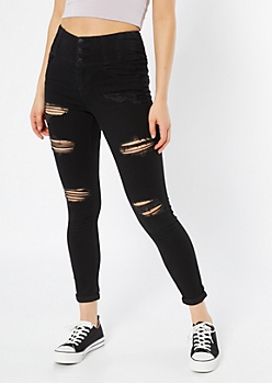 Black High Waisted Triple Button Ripped Jeggings