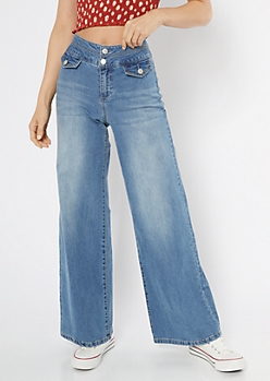 Medium Wash High Waisted Wide Leg Jeans
