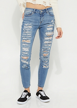 Medium Wash Mid Rise Distressed Ankle Jeggings