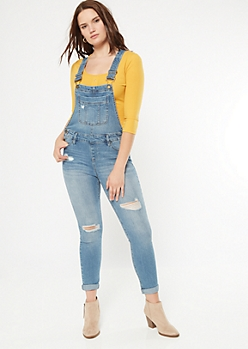Medium Wash Distressed Rolled Jean Overalls