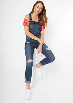 Dark Wash Distressed Rolled Jean Overalls
