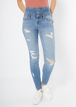 Medium Wash Exposed Button Distressed Jeggings