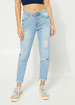 Vintage High Rise Destroyed Mom Jeans in Regular