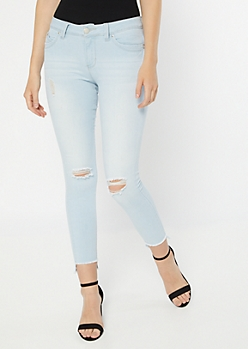 YMI Wanna Betta Butt Light Wash High Low Ankle Jeans