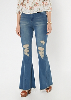 Medium Wash Ripped Wide Flare Jeans