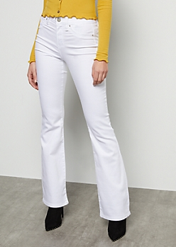 YMI White High Waisted Flare Booty Jeans