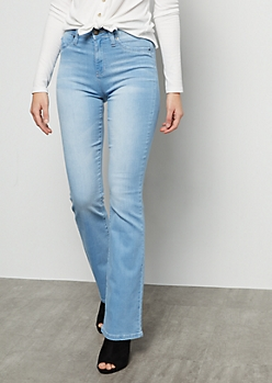 YMI Light Wash High Waisted Flare Booty Jeans