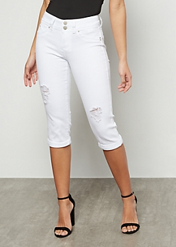YMI Wanna Betta Butt White Rolled Hem Capris