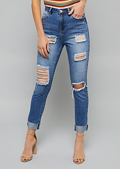 YMI Wanna Betta Butt Medium Wash High Waist Distressed Booty Jeans
