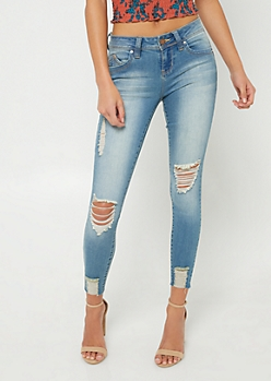 YMI Wanna Better Butt Distressed Cropped Jeans